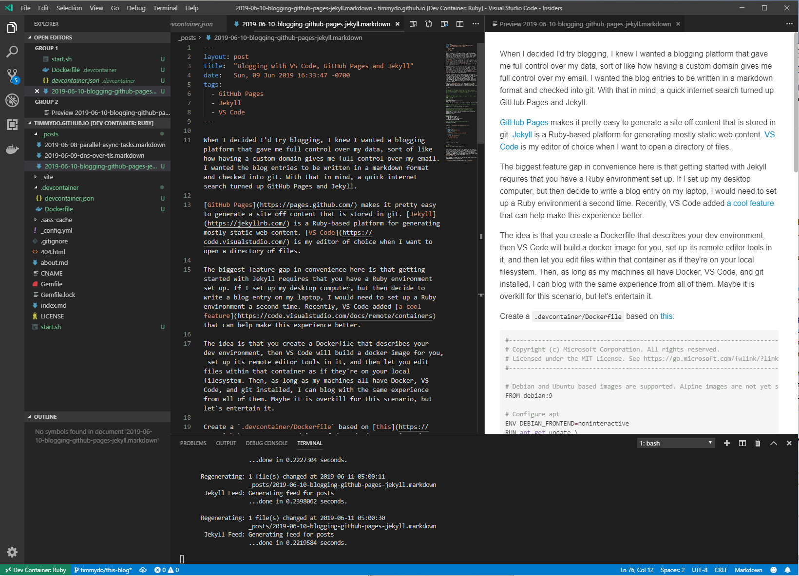Blogging with VS Code, GitHub Pages and Jekyll | timmydo/blog